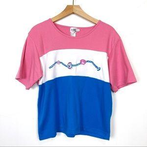 Vintage colour block oversized loose t-shirt pink